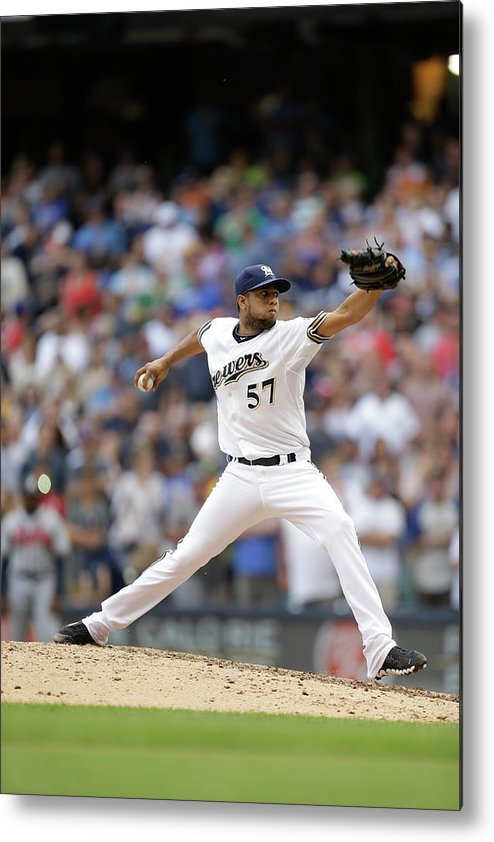 Wisconsin Metal Print featuring the photograph Atlanta Braves V Milwaukee Brewers by Mike Mcginnis