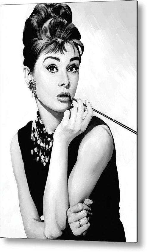Audrey Hepburn Paintings Metal Print featuring the painting Audrey Hepburn Artwork by Sheraz A