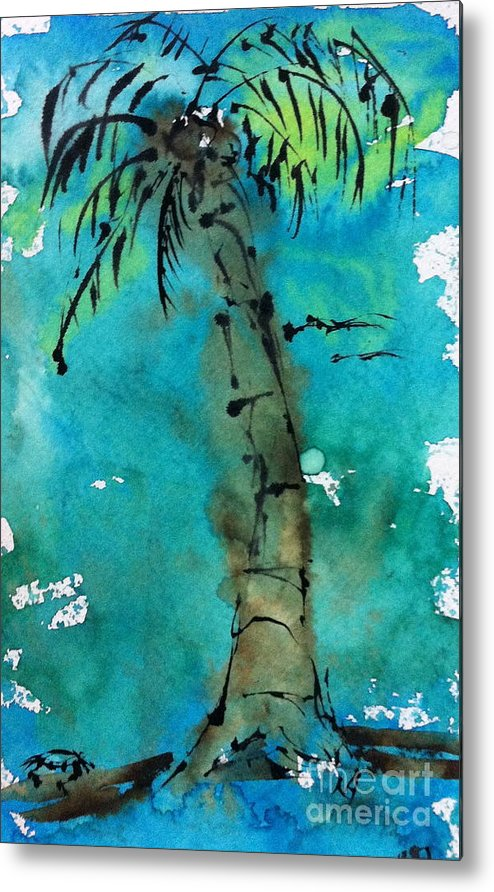 Watercolor Metal Print featuring the painting Blue Sky Palm by Norma Gafford