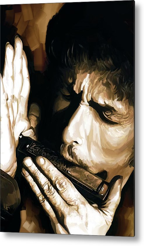 Bob Dylan Paintings Metal Print featuring the painting Bob Dylan Artwork 2 by Sheraz A