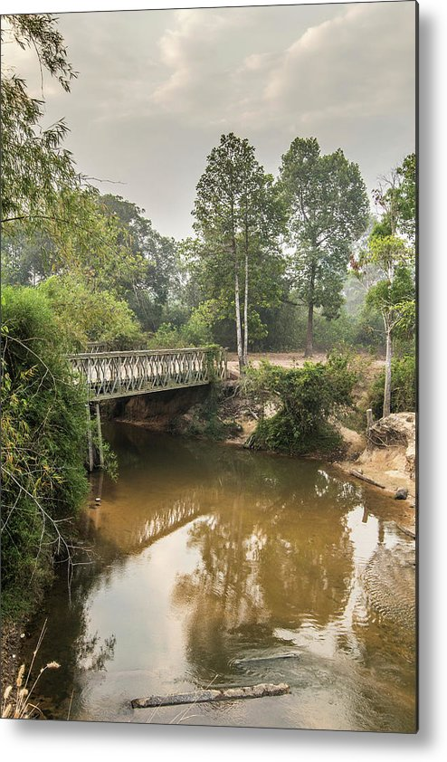 Tranquility Metal Print featuring the photograph Bridge Over Siem Reap River On The Road by Cultura Exclusive/gary Latham