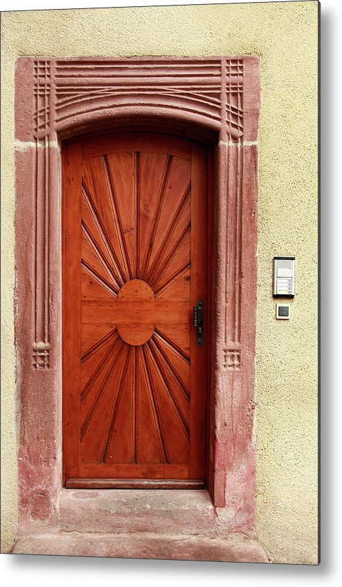 Apartment Metal Print featuring the photograph Brown Door Exterior Entrance by Bendebruyn