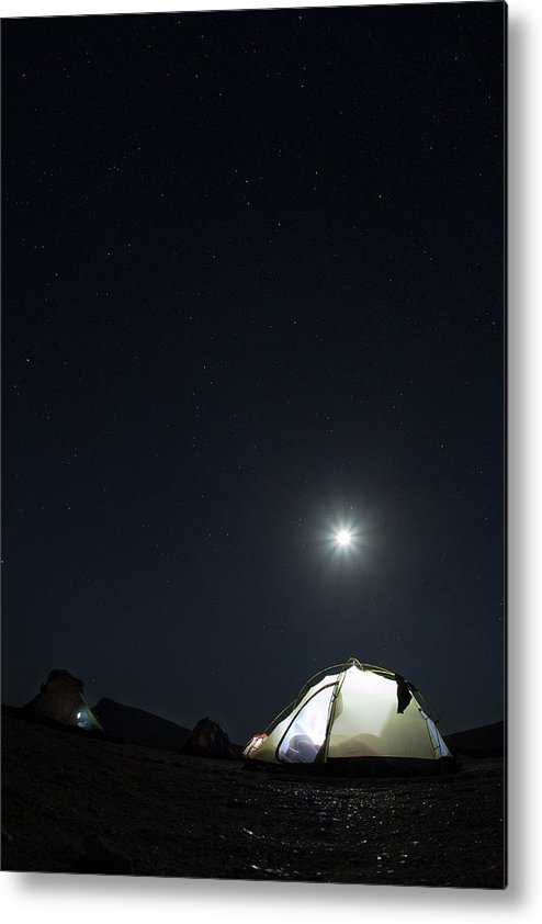 Camping Metal Print featuring the photograph Camping On The Beach Under The Moon And by Anna Henly