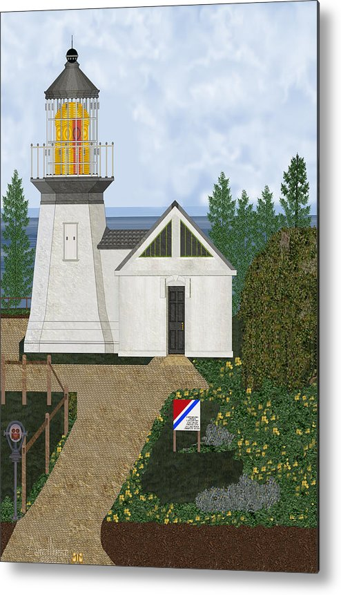 Cape Meares Lighthouse Metal Print featuring the painting Cape Meares Lighthouse April 2013 by Anne Norskog
