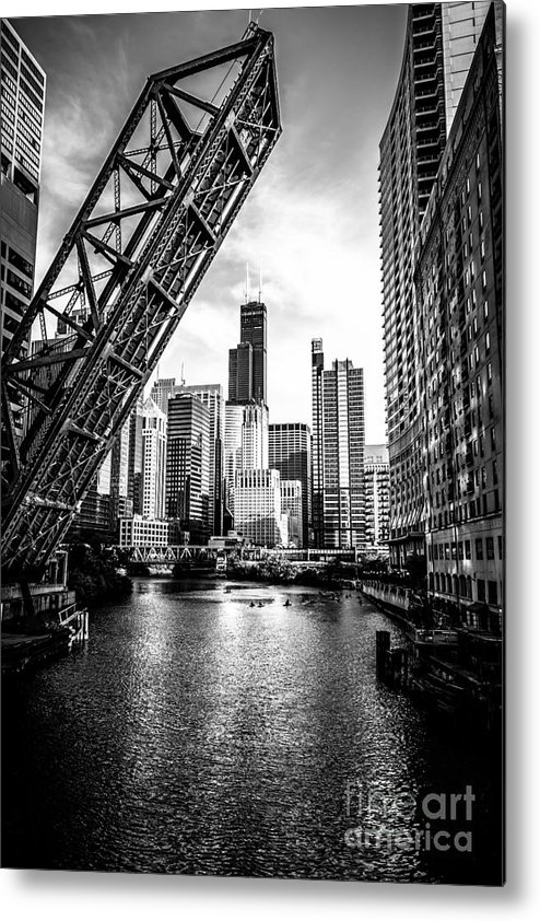 America Metal Print featuring the photograph Chicago Kinzie Street Bridge Black and White Picture by Paul Velgos