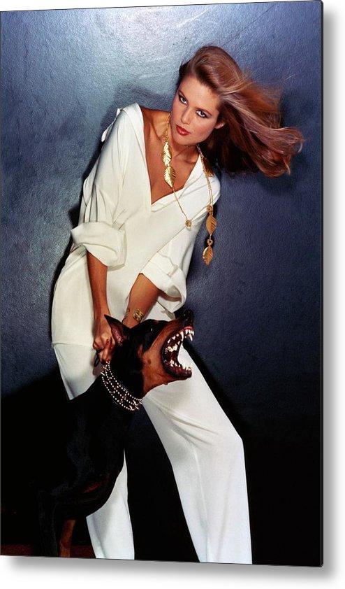 Accessories Metal Print featuring the photograph Christie Brinkley Wearing Geoffrey Beene Pajamas by Chris Von Wangenheim