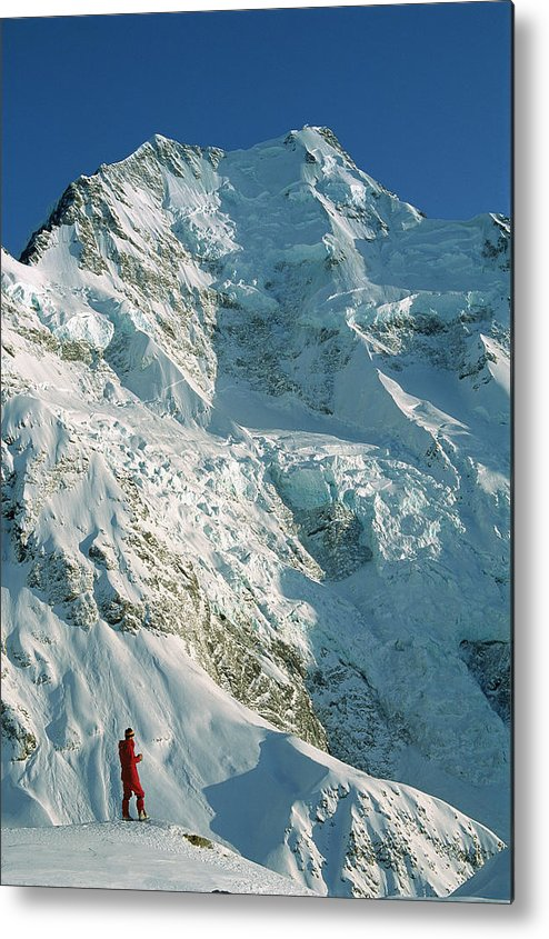 00260054 Metal Print featuring the photograph Climber Enjoying View Of Mt Cook by Colin Monteath