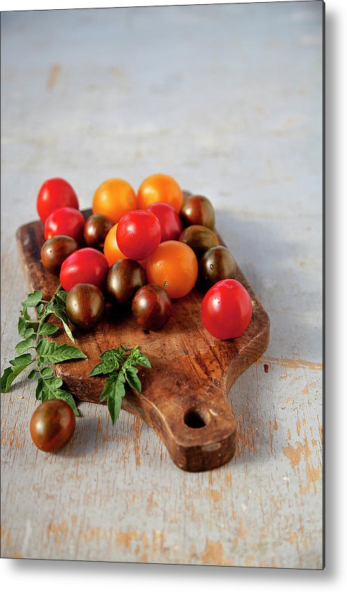 Cutting Board Metal Print featuring the photograph Colorful Tomatoes by ©tasty Food And Photography