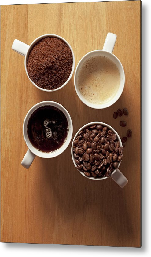 Shadow Metal Print featuring the photograph Cups Of Coffee And Coffee Beans by Larry Washburn