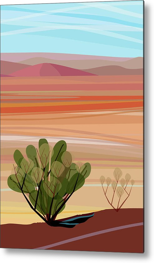 Saguaro Cactus Metal Print featuring the photograph Desert, Cactus Brush, Mountains In by Charles Harker