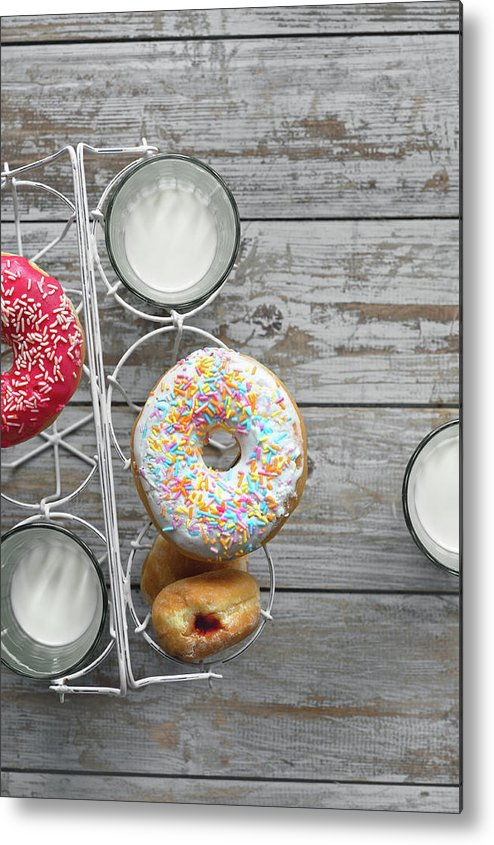 Milk Metal Print featuring the photograph Doughnuts And Milk by A.y. Photography