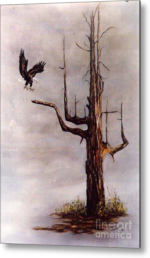 Eagle In Flight Metal Print featuring the painting Eagle with Snag by Lynne Parker