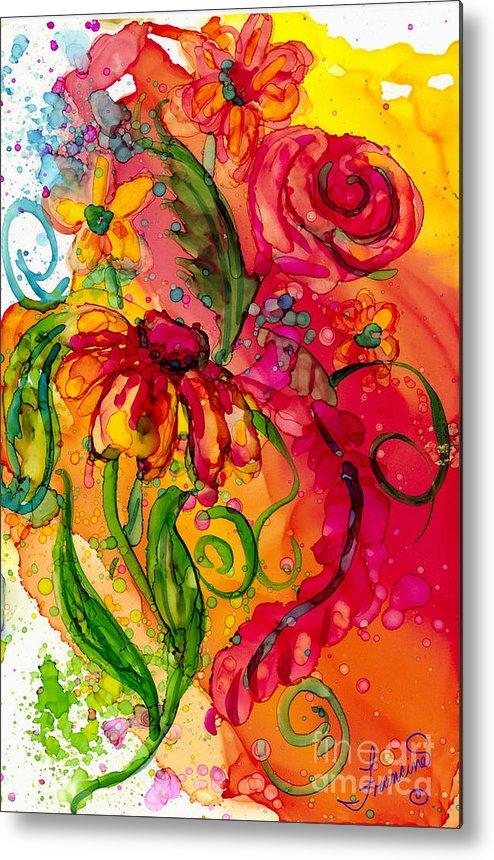 Flowers Metal Print featuring the painting Fiesta Flowers by Francine Dufour Jones