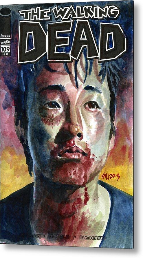 Glen Metal Print featuring the painting Glenn Walking Dead by Ken Meyer jr