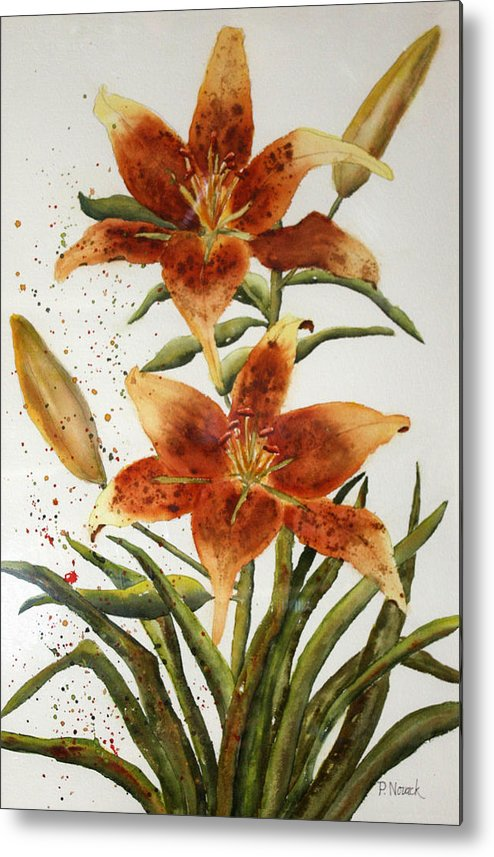 Lilies Metal Print featuring the painting Golden Lilies by Patricia Novack