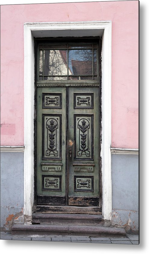Rectangle Metal Print featuring the photograph Green Wooden Door In Old Building by Eugenesergeev
