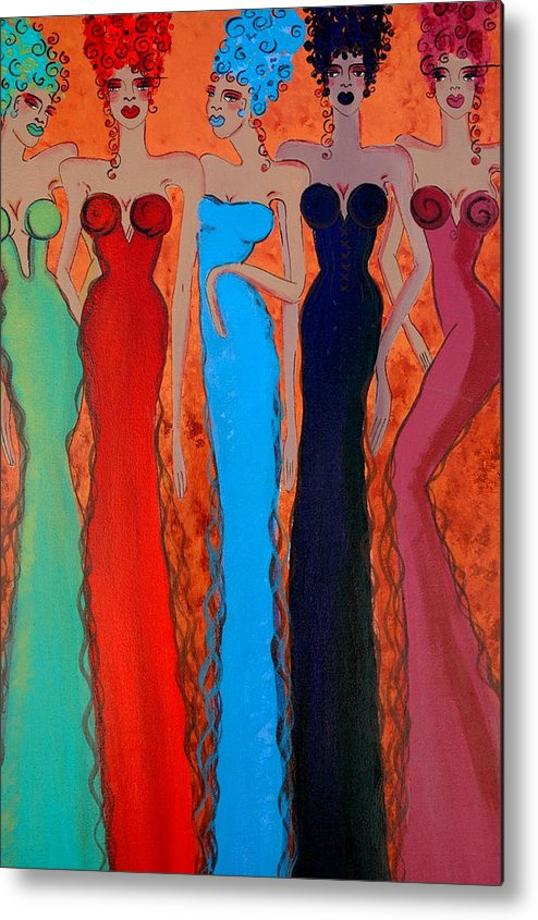 Sisters Metal Print featuring the painting Haute Colours by Helen Gerro