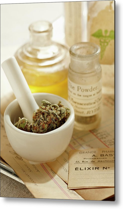 Mortar And Pestle Metal Print featuring the photograph Herbal Medicine by Lew Robertson