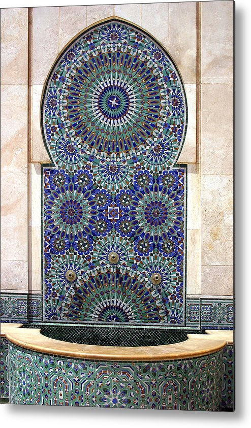 Holy Water Fountain Metal Print featuring the photograph Holy Water Fountain Hassan II Mosque Sour Jdid Casablanca Morocco by PIXELS XPOSED Ralph A Ledergerber Photography