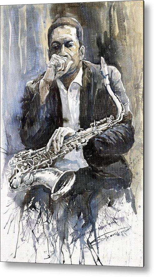 Jazz Metal Print featuring the painting Jazz Saxophonist John Coltrane yellow by Yuriy Shevchuk