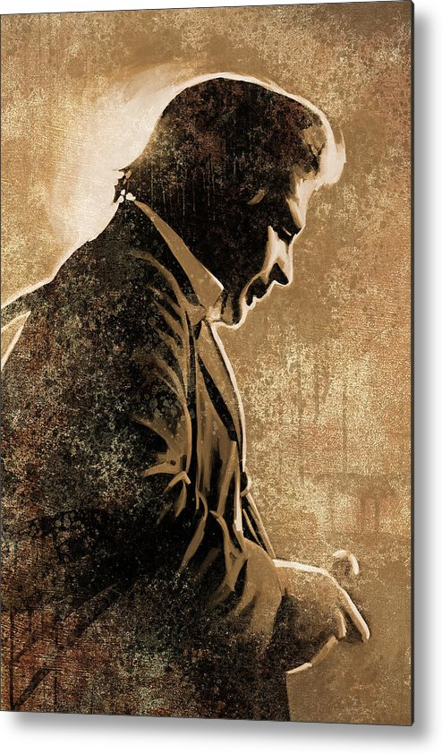 Johnny Cash Paintings Metal Print featuring the painting Johnny Cash Artwork by Sheraz A