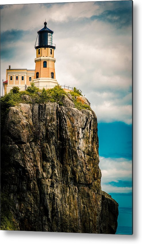 Two Harbors Metal Print featuring the photograph Lighthouse On Split Rock by Ever-Curious Photography
