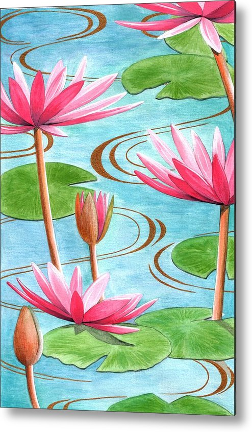 Flowers Metal Print featuring the painting Lotus Flower by Jenny Barnard