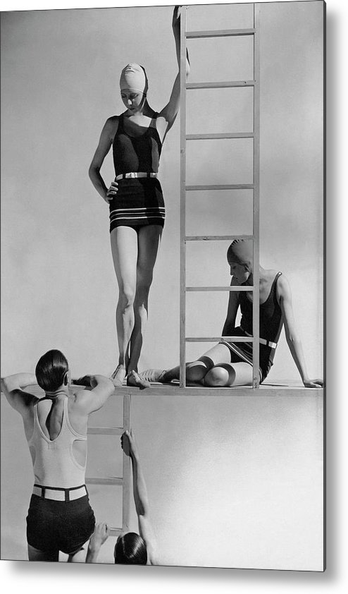 Fashion Metal Print featuring the photograph Models Wearing Bathing Suits by George Hoyningen-Huene