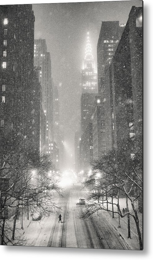 Nyc Metal Print featuring the photograph New York City - Winter Night Overlooking the Chrysler Building by Vivienne Gucwa