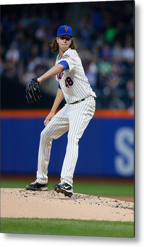 Jacob Degrom Metal Print featuring the photograph New York Yankees v New York Mets by Mike Stobe