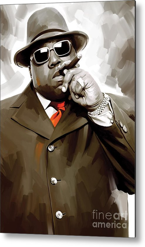 Notorious Big Paintings Metal Print featuring the painting Notorious Big - Biggie Smalls Artwork 3 by Sheraz A