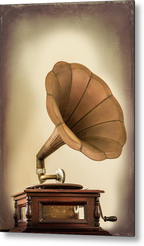 Music Metal Print featuring the photograph Phonograph Record Player by Gary S Chapman
