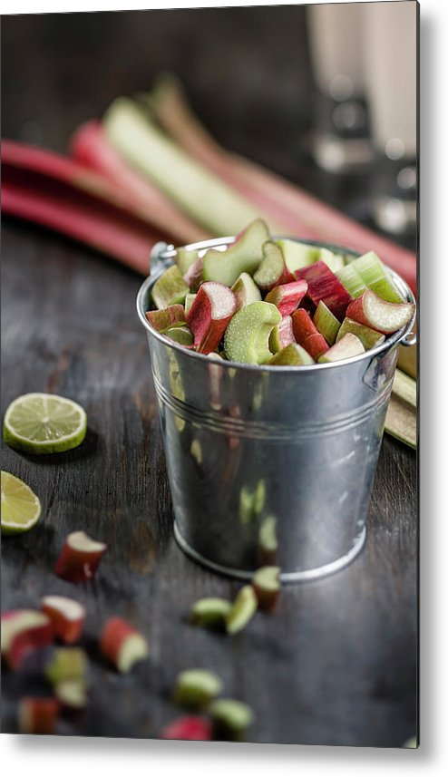 Bucket Metal Print featuring the photograph Pieces Of Rhubarb In Metal Bucket And by Westend61