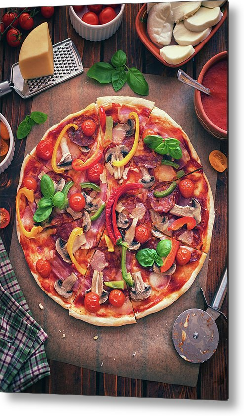 Chicken Meat Metal Print featuring the photograph Pizza With Ingredients by Kajakiki