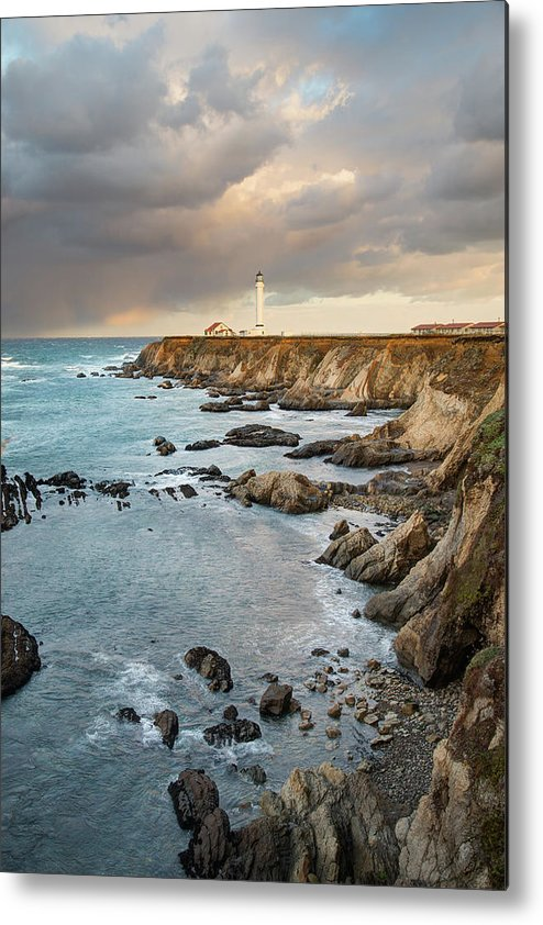 Headland Metal Print featuring the photograph Point Arena Headland And Lighthouse by Kjschoen