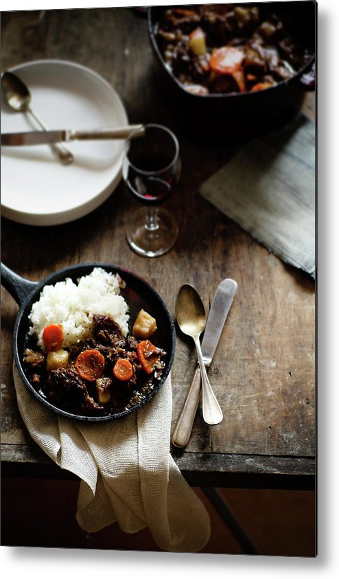 Spoon Metal Print featuring the photograph Red Wine Braised Beef by 200