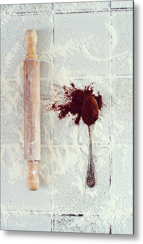 Rolling Pin Metal Print featuring the photograph Rolling Pin, Teaspoon, Flour And Cocoa by One Girl In The Kitchen