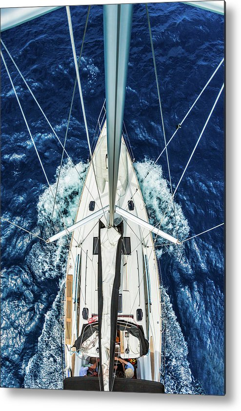 Adriatic Sea Metal Print featuring the photograph Sailboat From Above by Mbbirdy