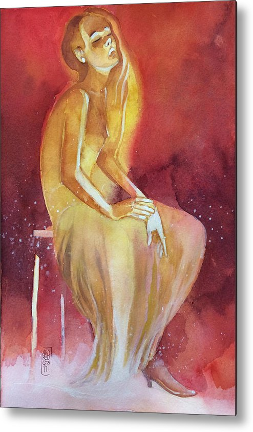Girl Metal Print featuring the painting Sitting girl by Alessandro Andreuccetti