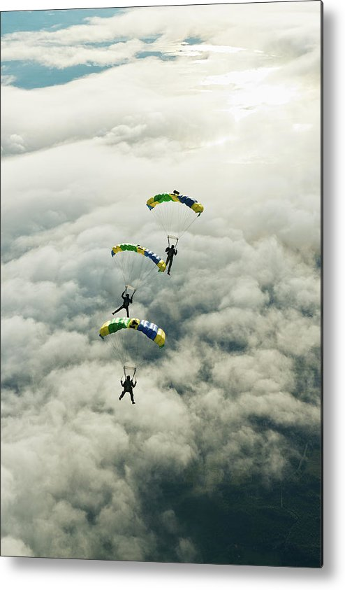 Young Men Metal Print featuring the photograph Skydivers In Mid-air by Johner Images