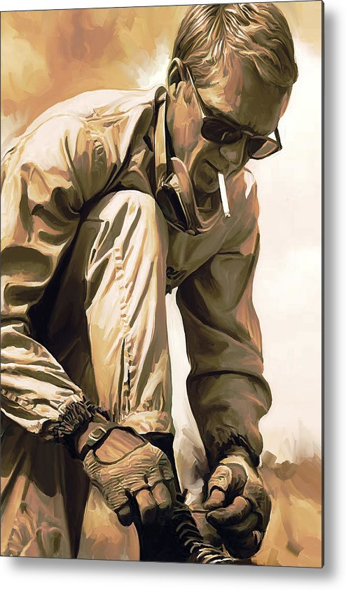 Steve Mcqueen Paintings Metal Print featuring the painting Steve McQueen Artwork by Sheraz A