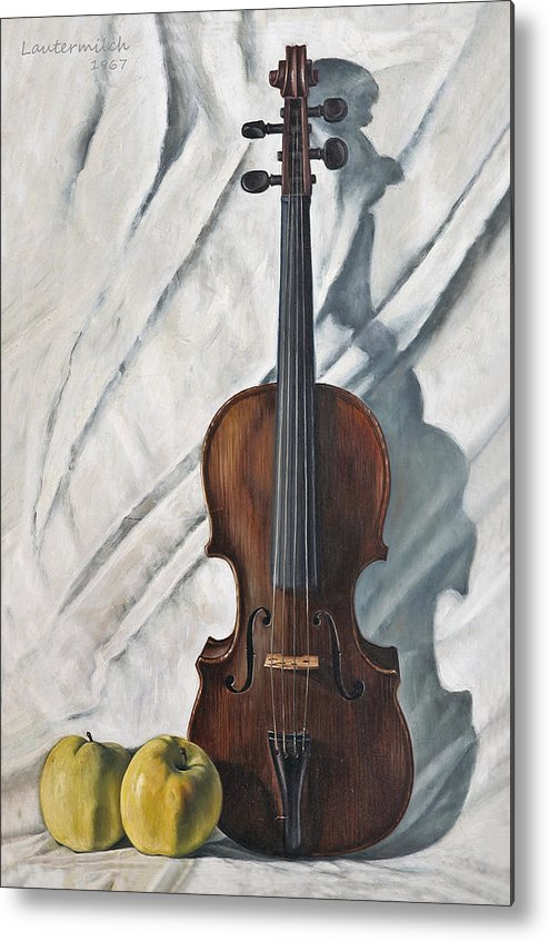 Violin Metal Print featuring the painting Still Life with Violin by John Lautermilch