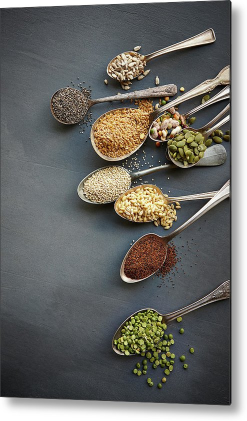 In A Row Metal Print featuring the photograph Super Food Grains On Spoons by Lew Robertson