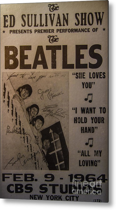 The Beatles Ed Sullivan Show Poster Metal Print featuring the photograph The Beatles Ed Sullivan Show Poster by Mitch Shindelbower