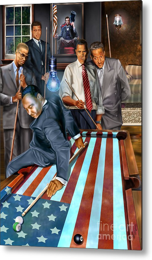 Abraham Lincoln Metal Print featuring the painting The Game Changers and Table runners by Reggie Duffie