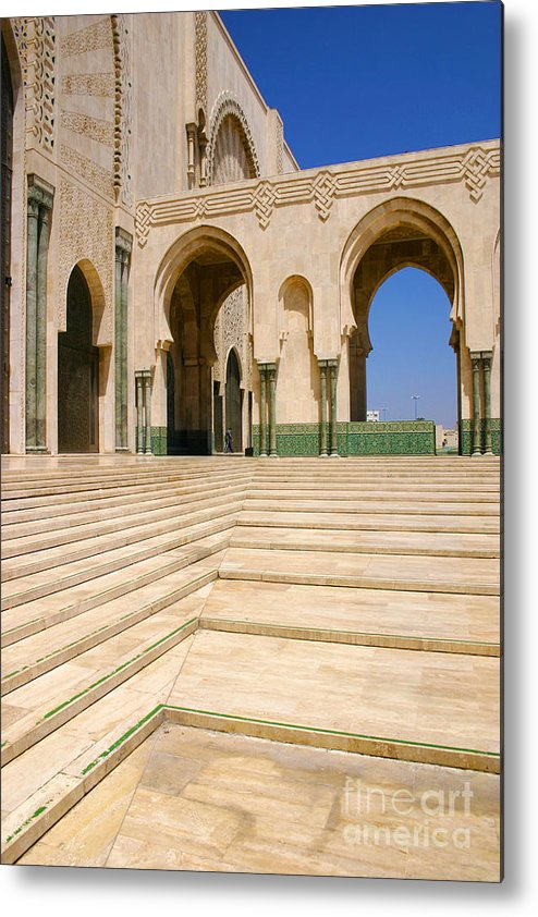 Colonnades Leading To Mosque Metal Print featuring the photograph The Massive Colonnades leading to the Hassan II Mosque Sour Jdid Casablanca Morocco by PIXELS XPOSED Ralph A Ledergerber Photography