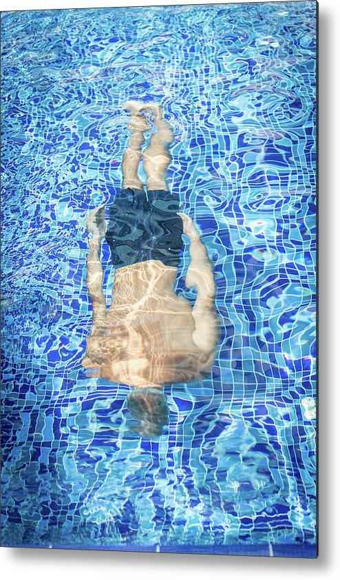 Underwater Metal Print featuring the photograph Top View Of Man Diving by Jasmin Merdan
