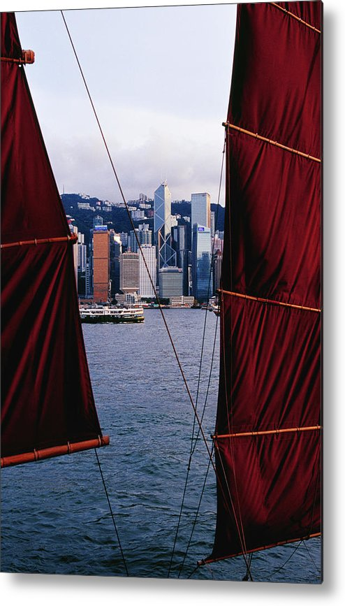 Chinese Culture Metal Print featuring the photograph Tourist Boat Junk Sails Framing by Richard I'anson