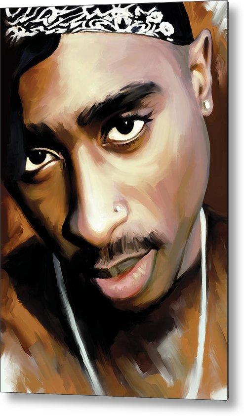 Tupac Shakur Paintings Metal Print featuring the painting Tupac Shakur by Sheraz A