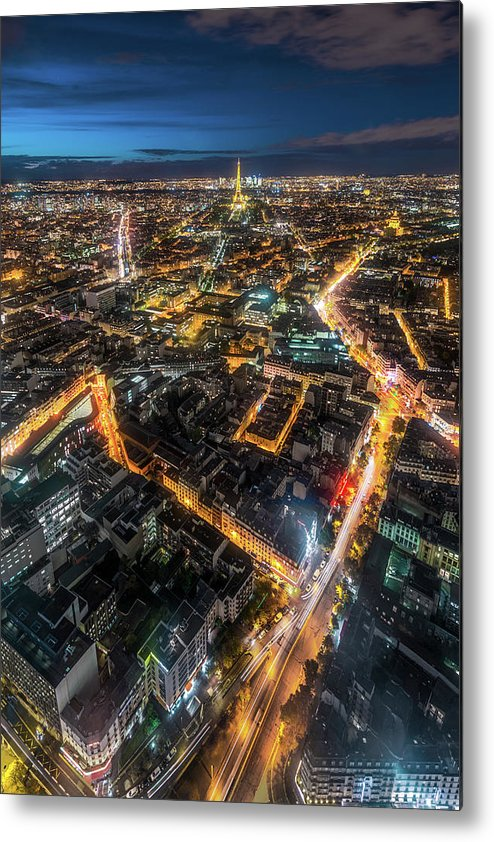 Tranquility Metal Print featuring the photograph Twilight City View Of Paris by Coolbiere Photograph